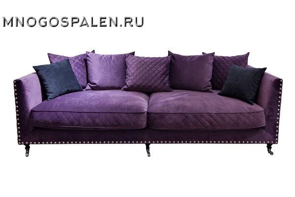 Диван трехместный велюровый фиолетовый купить в салоне-студии мебели Барселона mnogospalen.ru много спален мебель Италии классические современные